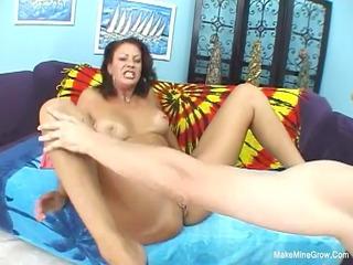 brunette vanessa with big knockers widens her