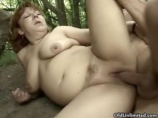 dirty older woman receives her slit