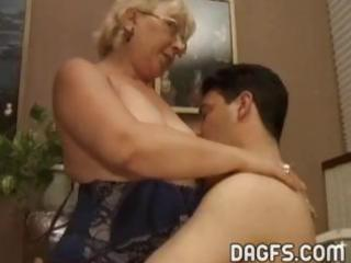 older granny acquires a younger dick to engulf
