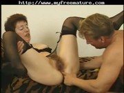 bushy mature in nylons copulates again aged