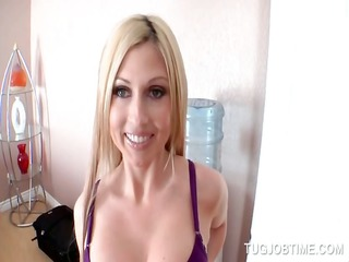 close-up with blondie tugging hard dong