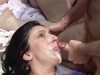 mature screwed hard and taking facial cum