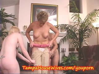 4 milfs educate a youthful housewife to party
