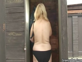 golden-haired granny rides my cock hard