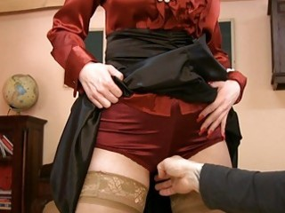 milf in glasses and satin nylons acquires nasty