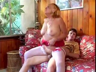 excited grandmother sucks, bonks her grandson