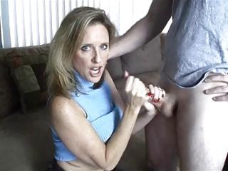 mom gives handjob toyoung chap