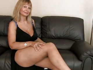 breasty older fingering her unshaved snatch