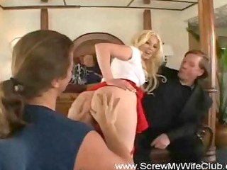 golden-haired slut swinger housewife bonks
