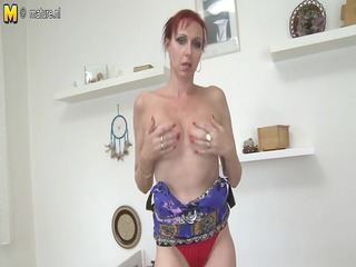 damn sexy non-professional mother playing with