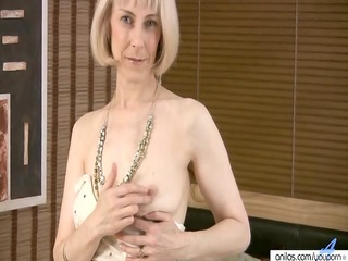 bushy aged masturbation with beads