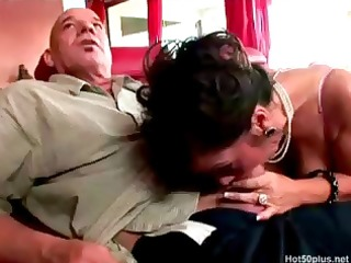 brunette hair cougar debella eats his old penis