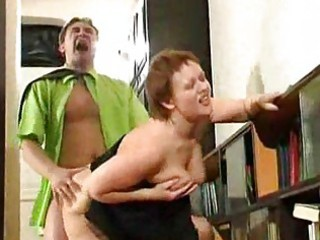 chunky aged housewife drilled by horny chap