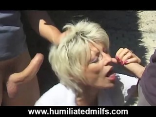 naughty gilf piddles &_ copulates outdoors