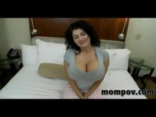 brunette milf with monster tits eats his cock,