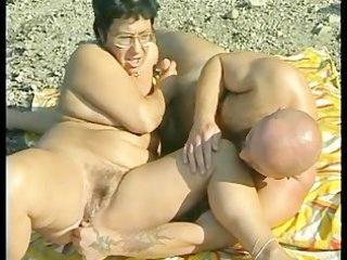 granny acquires group-fucked at the beach