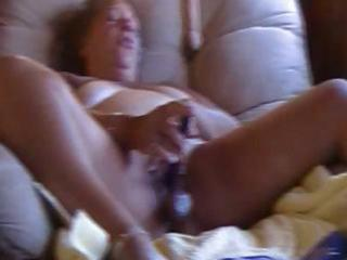 large bulky aged uses a dildo and vibrator to