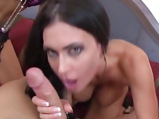 brunette hair pornstars sucking one dick