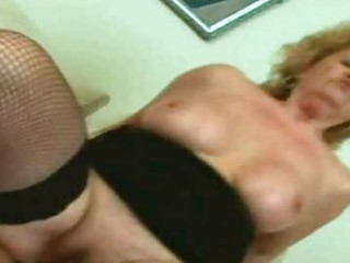 golden-haired granny engulfing and fucking a