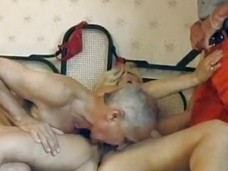 aged german golden-haired acquires double drilled