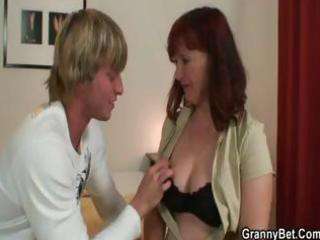 brunette granny acquires this younger chap to