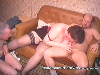 mature overweight housewife is drilled by men