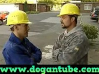 german mama drilled by two construction workers -