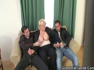 threesome fuckfest with granny