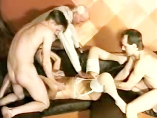 granny takes 3 chaps and is fisted