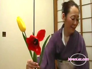 oriental legal age teenager in kimono getting her