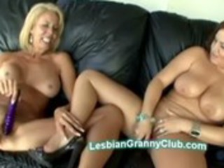 blonde granny erica pleases young plump cutie