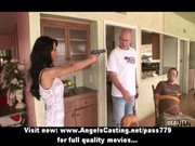 wicked brunette hair milf with a gun does blowjob