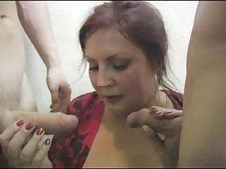 russian slut fucks 8 cocks on the stairs (part0)