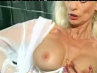 older in white lingerie and stockings fisted aged