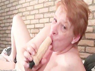 crazy aged woman engulfing biggest dildo part11