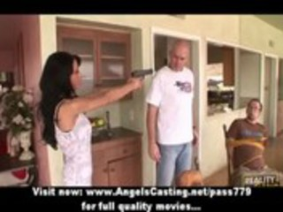 nasty dark brown mother i with a gun does blowjob