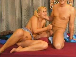slim golden-haired granny can not make a decision