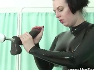 older in latex sucks and fucks sex machine