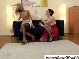 lesbo redhead and blond used dildos to fuck