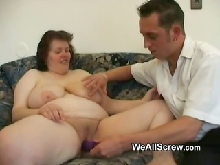 younger chap dildos old womans butt and fucks her