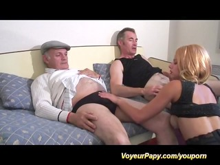 french threesome with voyeur papy