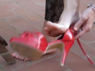 brunette wife acquires her feet licked clean