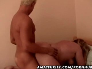 bulky non-professional older wife drilled by a