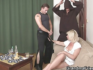 great threesome with sexy older blonde