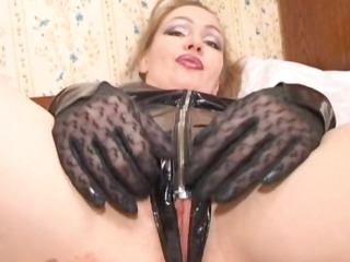 russian mom clothed in latex gets a cock in