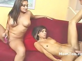 large tit mother and slender daughter fucked on a