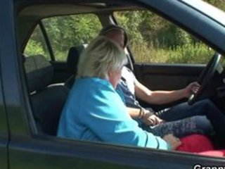 granny receives fucked in the car