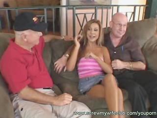 hubby enjoyed watching wife fucked hard