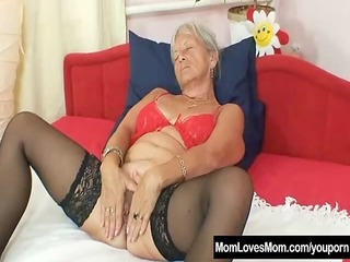 ugly grandma cecilie toys her hirsute love tunnel