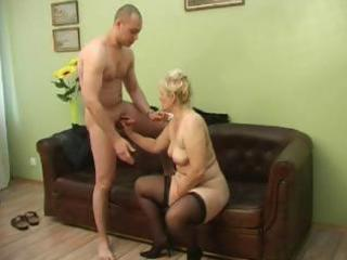 plumper russian older blond sucks his little wang